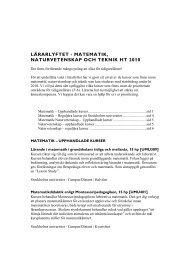 (Matematik och NO Lärarlyftet ht 2010 tidigarelärare) - Pedagog ...