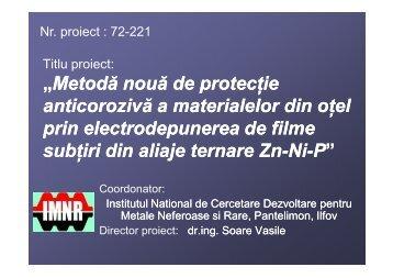 Metoda noua de protectie anticoroziva a materialelor ... - Prezentare