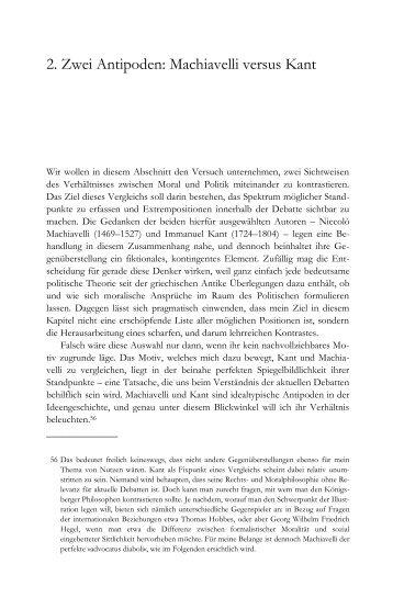 2. Zwei Antipoden: Machiavelli versus Kant