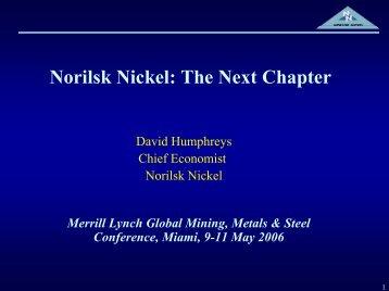 Norilsk Nickel: The Next Chapter