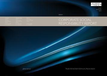 Corporate SoCial reSponSibility report - Gilbert + Tobin