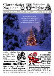 Frohe Weihnachten und ein gutes Neues Jahr - Klarenthaler Anzeiger