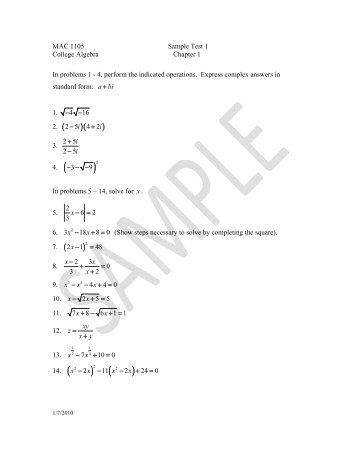 MAC 1105 Sample Test 3 College Algebra Chapter 3 In