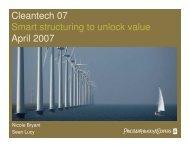 Cleantech 07 Smart structuring to unlock value April 2007