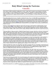 Body Ritual Among the Nacirema - Horace Mann School