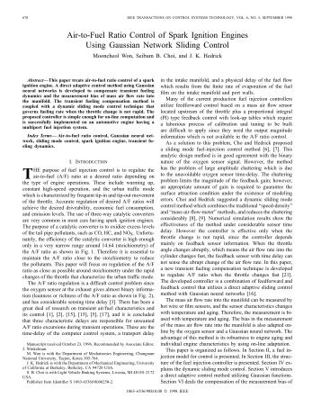 Air-to-fuel Ratio Control Of Spark Ignition Engines Using Gaussian ...