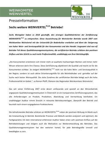 PT_Sechs_weitere_Weinviertel_Plus_Betriebe ... - Weinviertel DAC