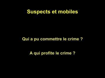 Suspects et mobiles