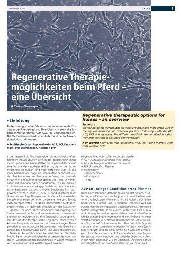 Regenerative Therapie - möglichkeiten beim Pferd - Pferdeklinik ...