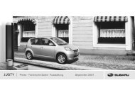 Preise · Technische Daten · Ausstattung September 2007 - Subaru