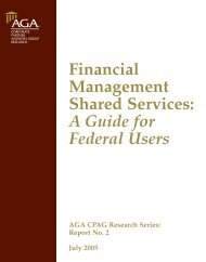 Financial Management Shared Services: A Guide for Federal ... - AGA