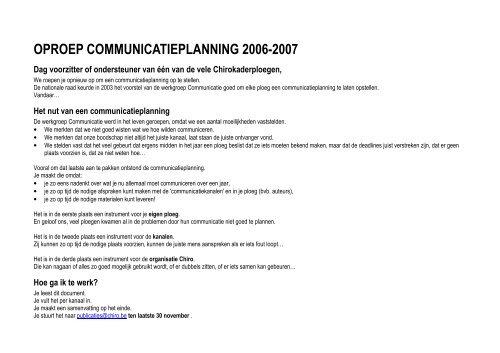 OPROEP COMMUNICATIEPLANNING 2006-2007 - Chiro