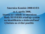 Smernica 2008/43/ES o zriadení systému na identifikáciu a ...