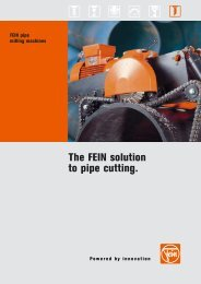 FEIN Pipe Milling Machines - VIGRA MARKETING & SERVICES