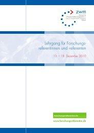 Lehrgang für Forschungs- referentinnen und -referenten - Das ZWM