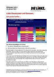 Mitglieder Info 30 - Die Linke, Kreisverband Segeberg