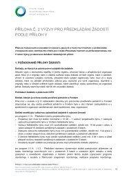 Příloha č. 2 Výzvy pro předkládání žádostí podle Příloh V