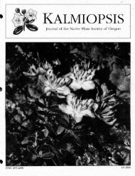 Cover, Table of Contents - Native Plant Society of Oregon