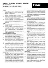 Standard Terms and Conditions of Delivery Hovalwerk AG