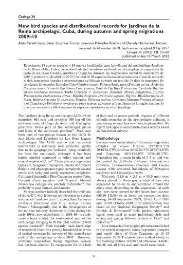 New bird species and distributional records for Jardines de la Reina ...