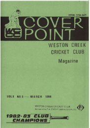 WESTON CREEK CRICKET CLUB Magazine