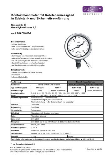 Kontaktmanometer mit Rohrfedermessglied in Edelstahl