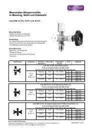 Manometer-Absperrventile in Messing, Stahl und Edelstahl