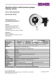Standard system contact pressure gauges Industry version