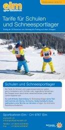 Tarife für Schulen und Schneesportlager - Sportbahnen Elm