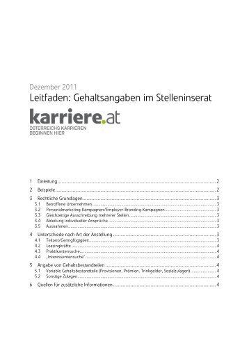 Leitfaden: Gehaltsangaben im Stelleninserat - Arbeitgeber - Karriere.at
