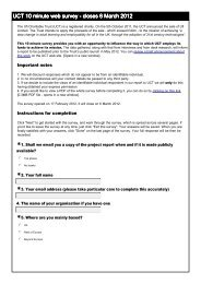 Page 1 UCT 10 minute web survey - closes 6 March 2012 The Ufi ...