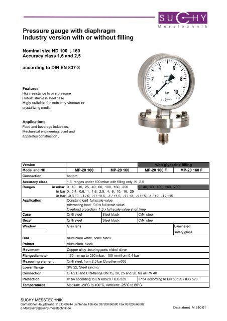 Pressure gauge with diaphragm Industry version with or without filling