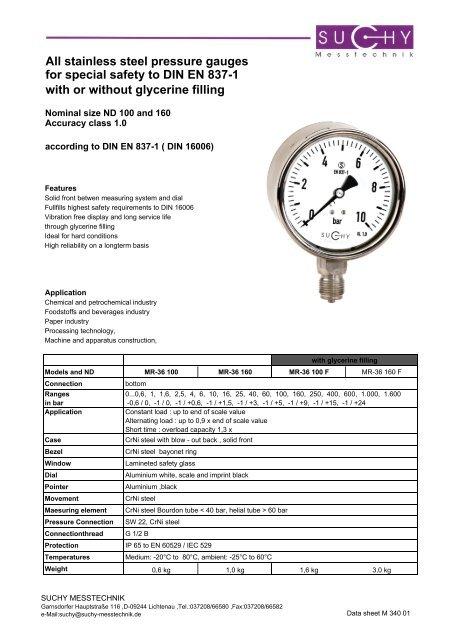 stainless steel pressure gauges for special safety to DIN EN 837-1 ...