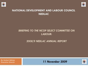 NEDLAC 2008/9 Annual Report Presentation - Parliamentary ...