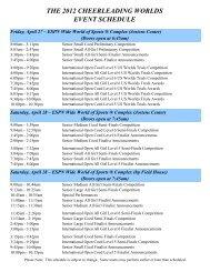 2012 Cheerleading Worlds Schedule
