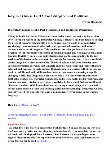 Integrated Chinese: Level 2, Part 1 - PDF eBooks Free Download