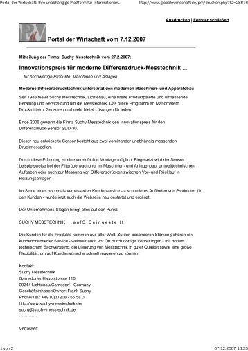 Portal der Wirtschaft - Suchy Messtechnik