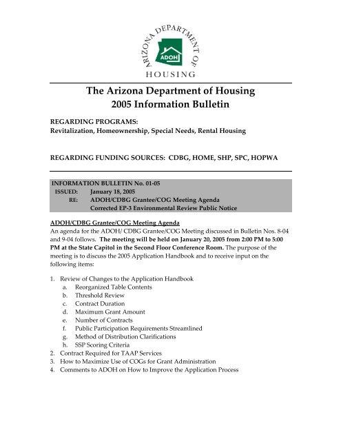 The Arizona Department of Housing 2005 Information Bulletin