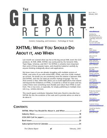 XHTML: What You Should Do About It & When - Gilbane Report