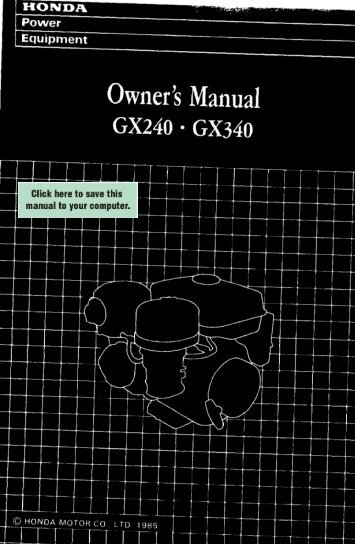 GX240 Owners Manual - Small Engine Suppliers