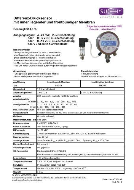 Differenz-Drucksensor mit innenliegender und frontbündiger Membran
