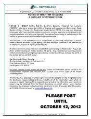 PLEASE POST UNTIL OCTOBER 12, 2012 - Metrolink