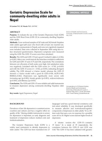 Measurement Invariance of the Geriatric Depression Scale-15 (GDS ...