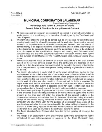 MW4/MW7 Tender Form - Municipal Corporation Jalandhar