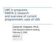 LNS in programs: FANTA-2 effectiveness ... - The iLiNS Project