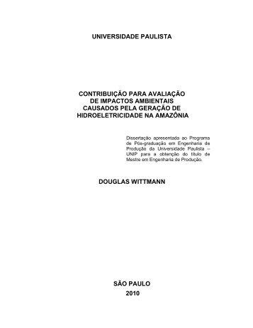 Contribuição para avaliação de impactos ambientais causados pela ...