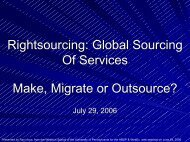 Global Sourcing Of Services Make, Migrate or Outsource? - WebEx