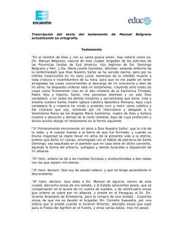 Trascripción del texto del testamento de Manuel Belgrano ...