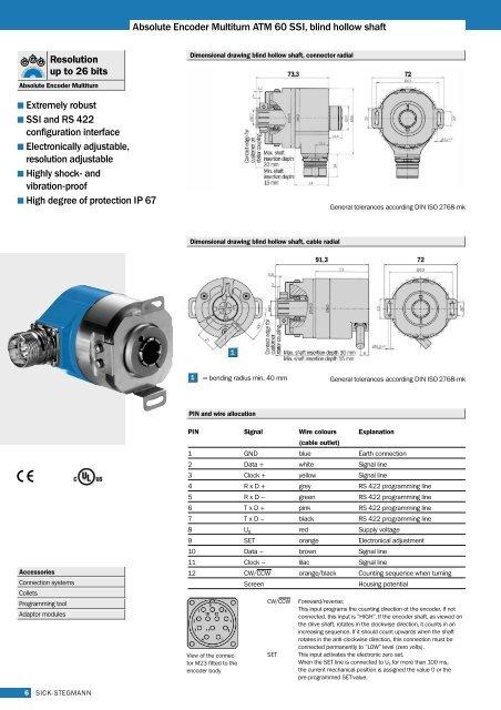 Absolute Encoder Multiturn ATM 60 SSI, blind hollow shaft