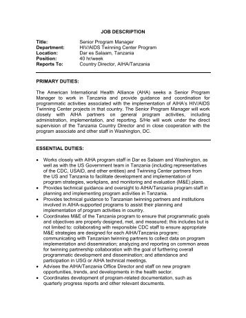 JOB DESCRIPTION Title - American International Health Alliance